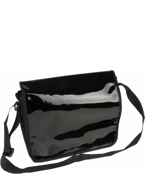 Borsa dispatch in PVC lucido e tracolla, nero