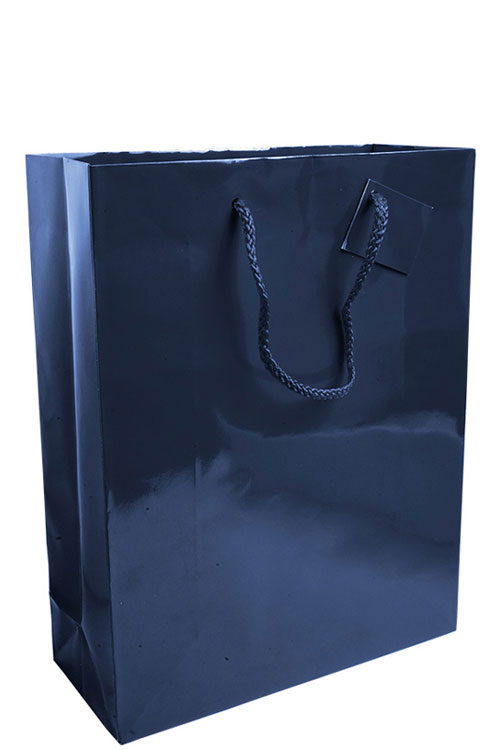 Shopper con manici in corda f.to 26 x 35 x11 cm blu