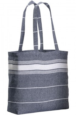 Shopper con soffietto in fouta blu
