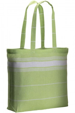 Shopper con soffietto in fouta verde