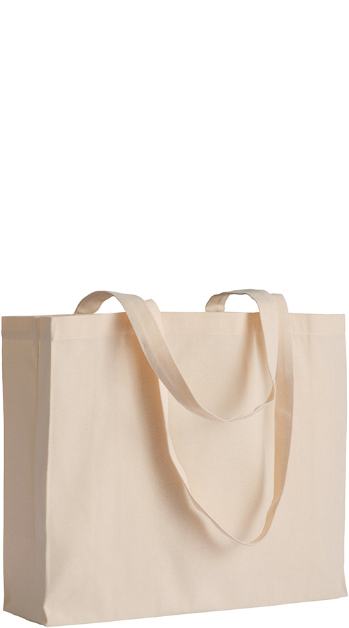 Shopper con soffietto in cotone naturale canvas Branding Natural