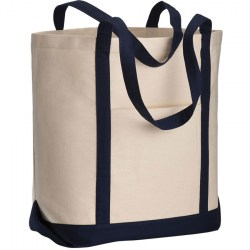 Shopper con soffietto in cotone canvas ècru/blu scuro