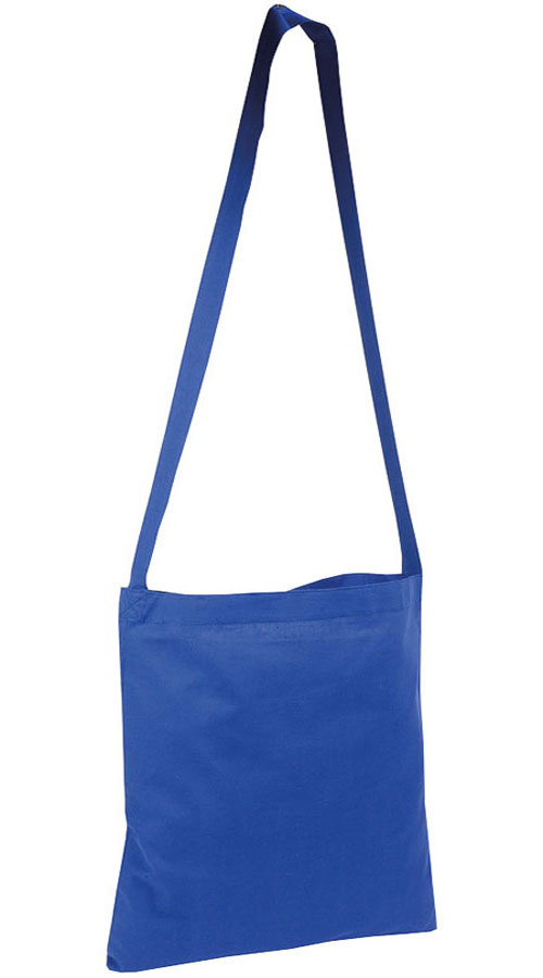 Shopper con tracolla in cotone blu royal