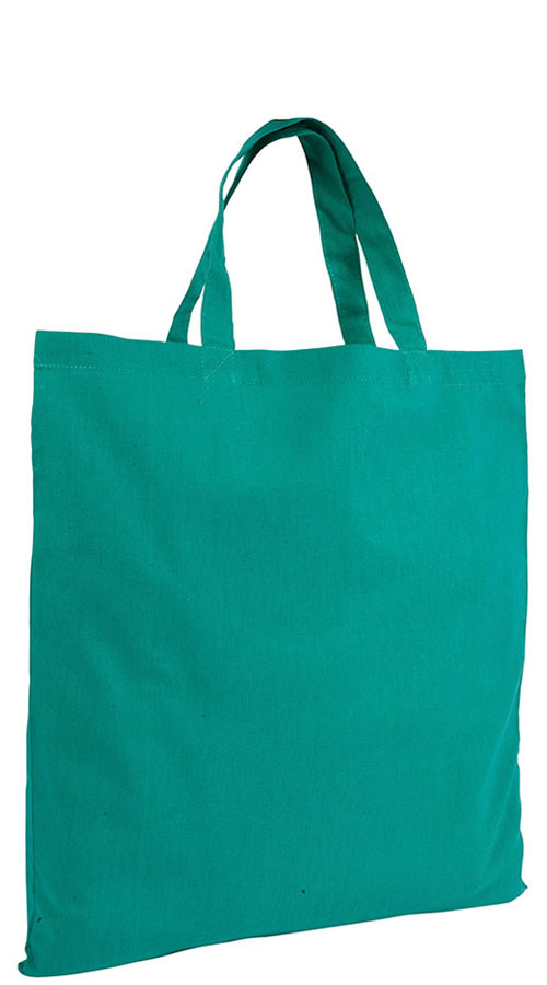 Shopper in cotone manici corti verde