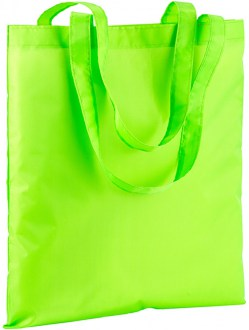 Shopper in nylon in colore verde fluo