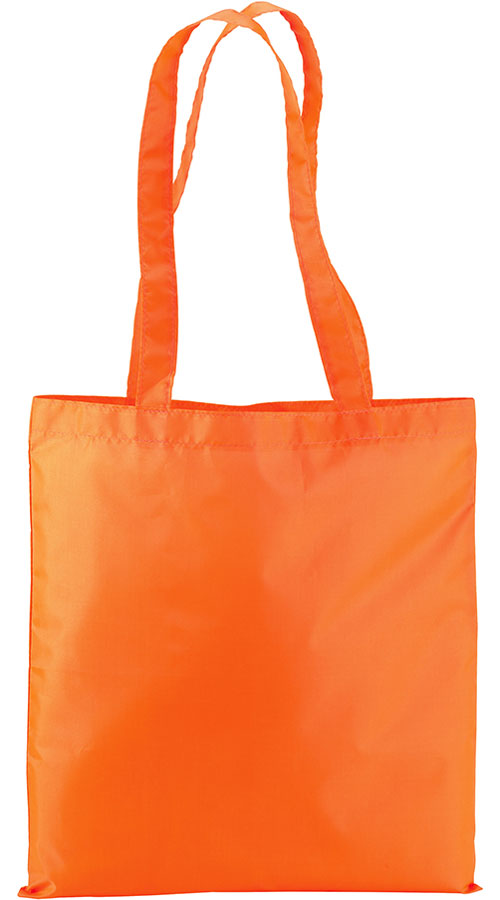 Shopper in nylon in colore arancio fluo