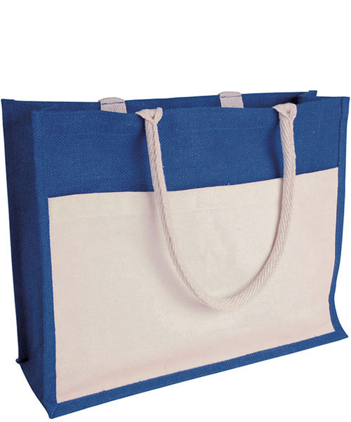 Borsa in Juta Tex Color f.to 45 x 35 x 12 cm blu