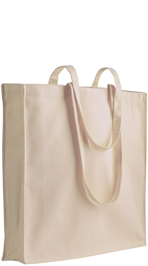 Shopper in cotone con soffietto Spring Natural