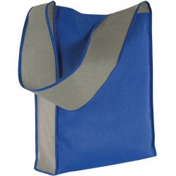 Shopper in TNT con tracolla larga, blu royal/grigio