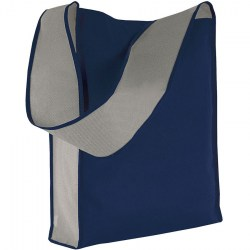 Shopper in TNT con tracolla larga, blu/grigio