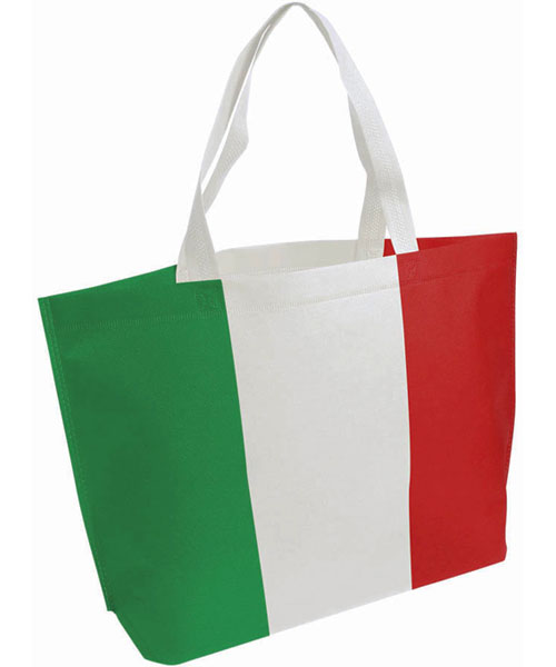 Shopper tricolore in TNT laminato Italia